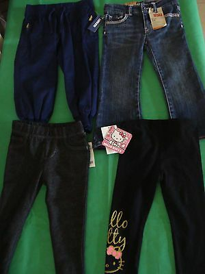 Girls size 2 pants lot New, levis, Old Navy, Hello Kitty