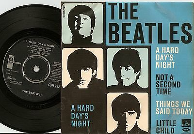 The Beatles A Hard Days Night Ep Danish 45+Ps 1964 The Blue Ep Odeon Geos 222