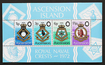 Ascension 1972 Naval Crests Ship MNH Miniature Sheet