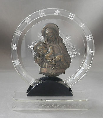 Religious Statue Plaque Mary And Jesus Brass On Plastic Stand Catholic