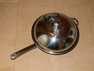 Frying Wok Stainless Steel Pan High Dome Wok & Lid With Handle 32cm diameter