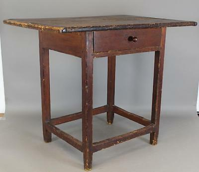 18Th C Chippendale Stretcher Base Tavern Table Original Top & Drawer Old Patina