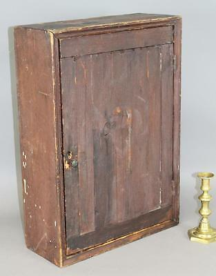 Great Early 18Th C Hanging Cupboard The Best Original Grungy Dark Red Paint