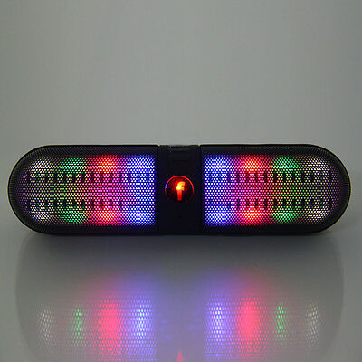 Portable LED Light Wireless Bluetooth Stereo Speaker FM Radio for iphone Black