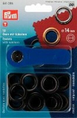Prym 10 eyelets with washers and tool 14mm burnished 541384