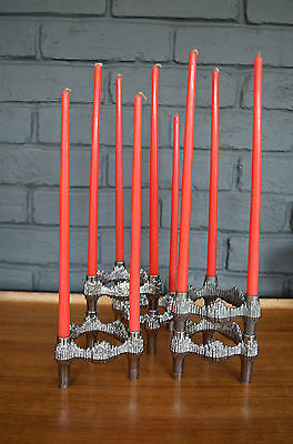 5 Mid Century German Modular ATOMIC Stacking Candle Holder Quist BMF Nagel stoff