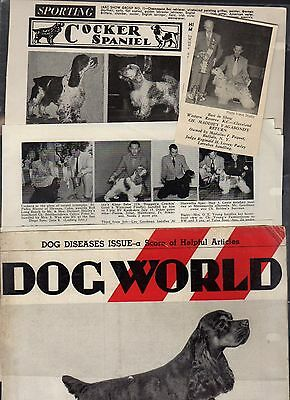 American Cocker Spaniel, 76 Kennel Clippings out Dog Magazines 40's-60's,LOT3of3