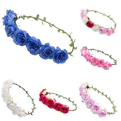 Beauty Rose Flower Headband Hair Band Crown Floral Garland Wedding Beach Party