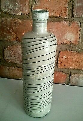 Vintage Patterned Bottle Shabby-Chic Painted French Grey Candle Holder