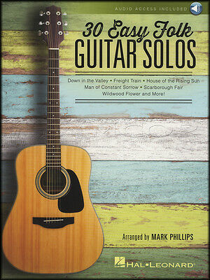 30 Easy Folk Guitar Solos TAB & Music Book with Audio Tom Dooley Fare Thee Well