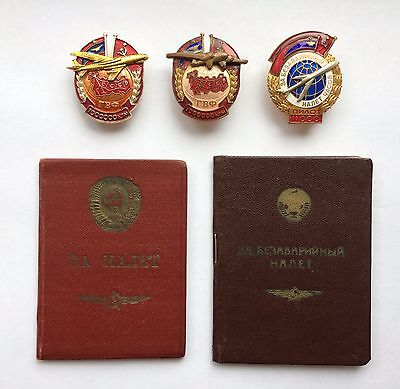 Set of Soviet Badges and Documents Aviation Air Force USSR