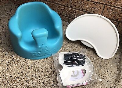 Bumbo Floor Seat - With Feeding Tray And New Belts / Harness - Blue