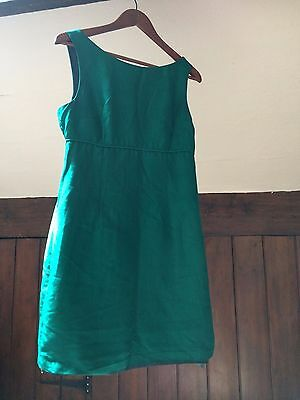 Raw silk Green vintage mod 60s empire shift dress HUGO BUSCATI 12