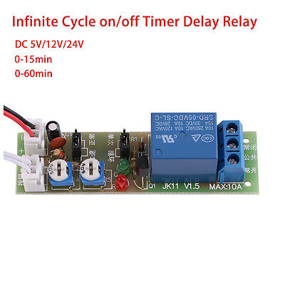DC 5V 12V 24V Infinite Cycle Delay Timing Timer Relay ON/OFF Switch Module Timer