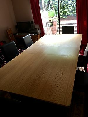 Solid Oak Pool Table Dining Table 7ft X 4ft Brand New Leather & Oak Chairs