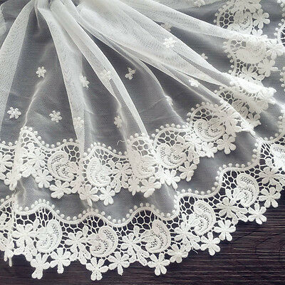 1yd Double Layer Mesh Lace Tulle Trim Floral Embroidered Sewing Applique Craft