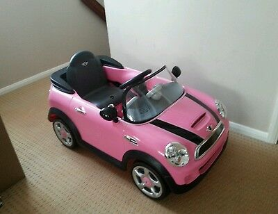 Pink Mini Cooper Electric Car Kids Ride On Girls 6V Battery Powered With Charger
