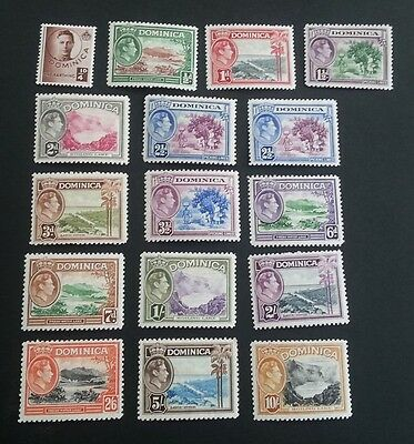 DOMINICA George VI 1938-47 Definitive Set of mounted mint stamps