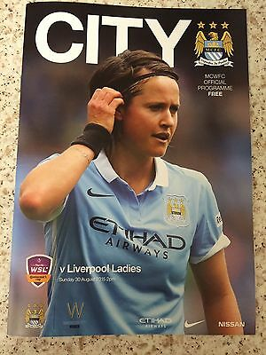 Manchester City Women FC v Liverpool Ladies FC Football Programme (Season 2015)