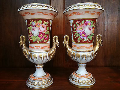 Pair Antique French Vases Porcelain Floral Vases Empire Napoleon 19th Century