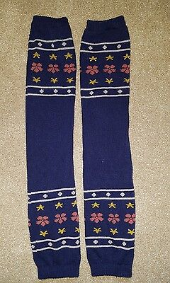 Vintage retro 80's leg warmers - navy blue