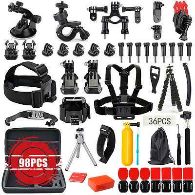 98 Accessories Pack Head Chest Monopod Bike Surf Mount for GoPro Hero 5 4 3+ 3 2