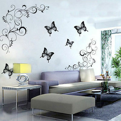 Butterfly Feifei Flower Wall Stickers Decal Removable Art Vinyl Decor Home