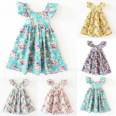 Flower Girls Summer Princess Dress Baby Kids Party Pageant Dresses Sundress
