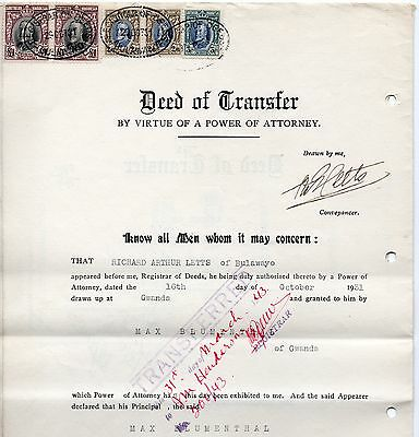 1931 S.Rhodesia Deed Of Transfer Revenue franked with fine Fieldmarshals.