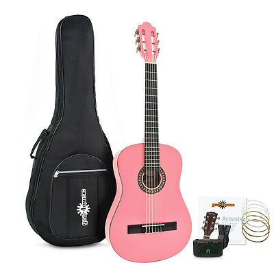 Deluxe Junior Classical Guitar Pack, Pink, by Gear4music - used 6 times
