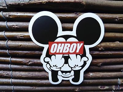 Obey Ohboy Mickey Mouse Eff You Fingers The Bird Sticker Skateboard Snowboard