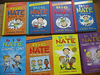 lot: 8 BIG NATE (Lincoln Peirce) books (hardcover and softcover)