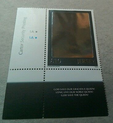Jersey 2012 Diamond Jubilee £10 Hologram stamp MNH with selvage  per scan