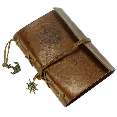 Leather Case Vintage Style Portable Journal Diary book Chain Nautical A4C3