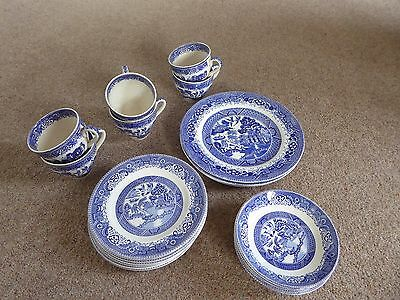 Washington and British Anchor willow pattern plates, cups & saucers.