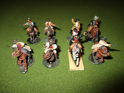 8 x Old West Mounted Cowboys Miniatures, Metal 25/28mm