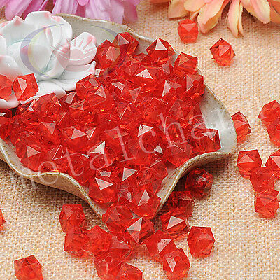 50pcs Red Clear Square Faceted Acrylic Crystal Spacer Beads Jewelry Making 10mm