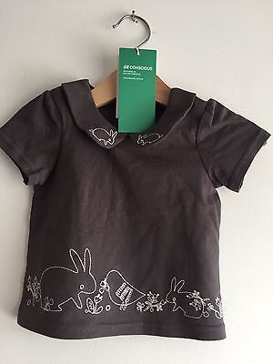 BNWT Baby Girl 2-4 Months Grey T Shirt Top Rabbit Bunny H&M