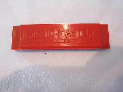 Vintage Plastic Toy Harmonica - Red White Blue Color - Made By Music Master