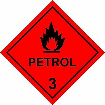 Dangerous substance labels Petrol safety sign - Self adhesive sticker 100mm x