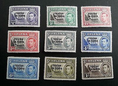 Tristan Da Cunha George VI 1952 short set to 1 shilling lightly m/mint stamps