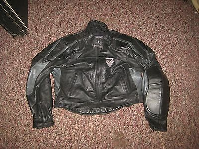 BLACK/SILVER LEATHER FRANK THOMAS MOTORCYCLE JACKET size UK 48 EUR 58