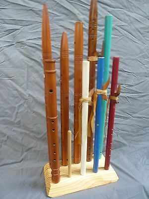 """Solid Pine """"cluster"""" flute stand...flute rack..holds 10 native american flutes"""