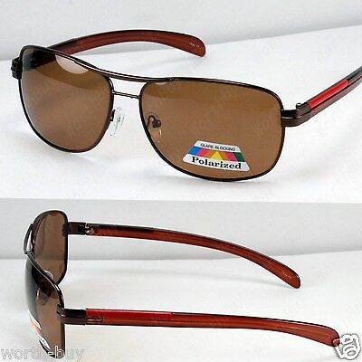 New Dark Brown Mens Polarized Lens Sunglasses Sport Pilot Fishing Driving Shades