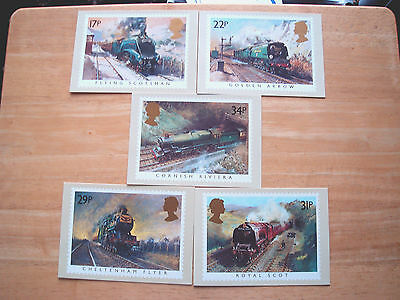MINT ROYAL MAIL STAMP CARDS-FAMOUS TRAINS-PHQ 81(a-e)-1985