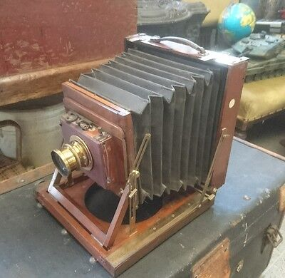 Superb THORNTON PICKARD Triple IMPERIAL 1/2 PLATE MAHOGANY CAMERA WITH LENS