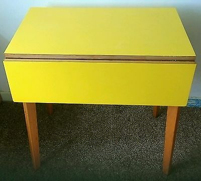 Vintage Retro Drop Leaf Extending kitchen Table drawer Small Yellow Formica