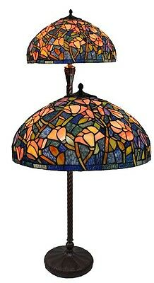 """20"""" Brand New Stained Glass Blue Floral Three Light Floor Lamp"""