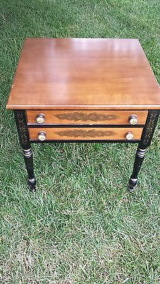 Authentic Hitchcock Black One Drawer Nightstand End Table.