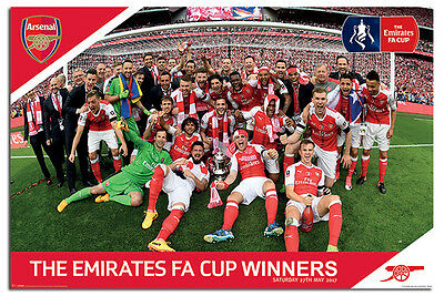 Arsenal FC FA Cup Winners 2017 Poster New Official - Maxi Size 36 x 24 Inch